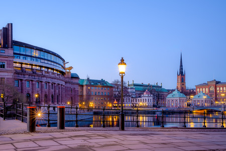 gamla stan: View over the Old Town (Gamla Stan) in Stockholm, Sweden at dawn