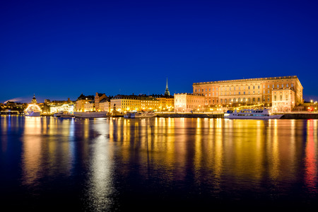 gamla stan: View over old buildings in Gamla Stan in Stockholm, Sweden at dawn