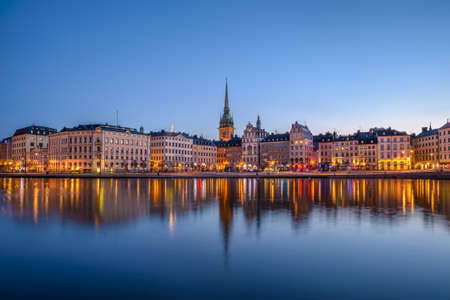 gamla stan: View over buildings in the Old Town (Gamla Stan) in Stockholm, Sweden at dawn