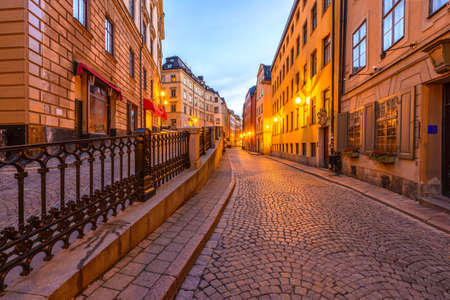 gamla stan: Along the streets of Gamla Stan in Stockholm, Sweden at dawn