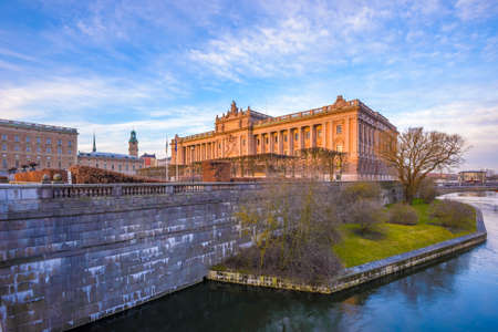 shined: The building of the swedish parlament shined by the morning sun Stock Photo