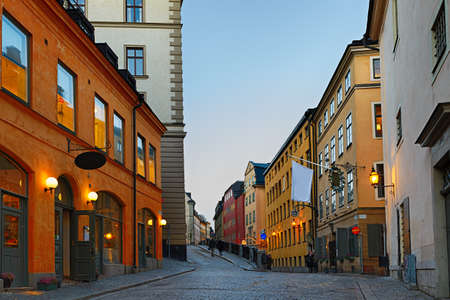 gamla stan: Along the streets of The Old Town Gamla Stan in Stockholm at dusk