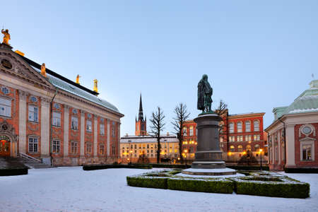 north end: The Swedish House of Nobility Riddarhuset, north end, with a statue of Axel Oxenstierna