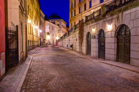 stan: Gamla Stan in Stockholm, Sweden at night