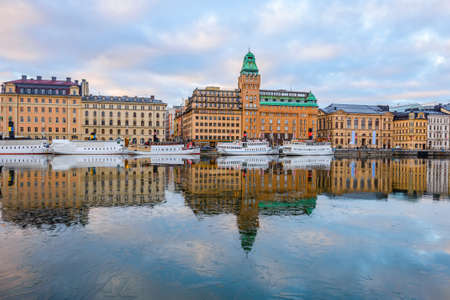 gamla stan: View of buildings in Gamla Stan in Stockholm, Sweden at dawn Stock Photo