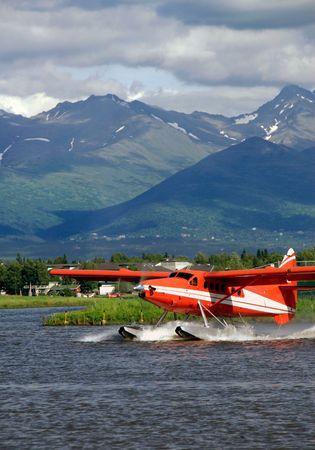 alaska scenic: Alaska floatplane on Lake Hood Stock Photo