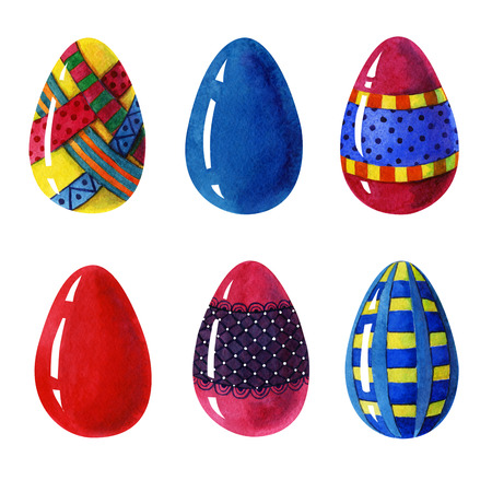 Seamless Easter eggs colorful beauty set whit red, blue, yellow eastereggs, and egss whit ornamental decorative elements