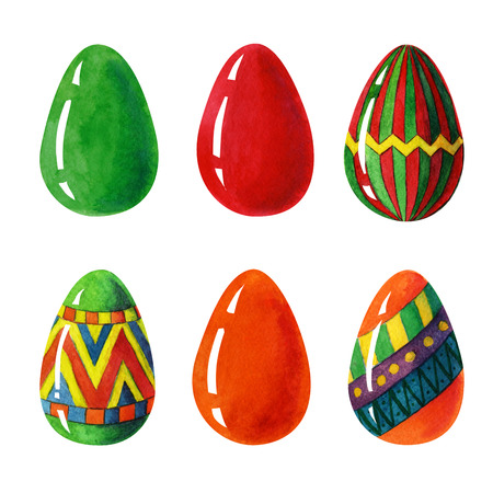 Seamless Easter eggs colorful beauty set whit red, orange, green eastereggs, and egss whit ornamental decorative elements Stock Photo