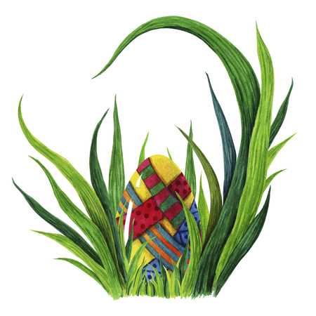 Hand painted watercolor illustration of colorful Easter egg whit decorative elements laying in fresh green grass tuffet. closeup