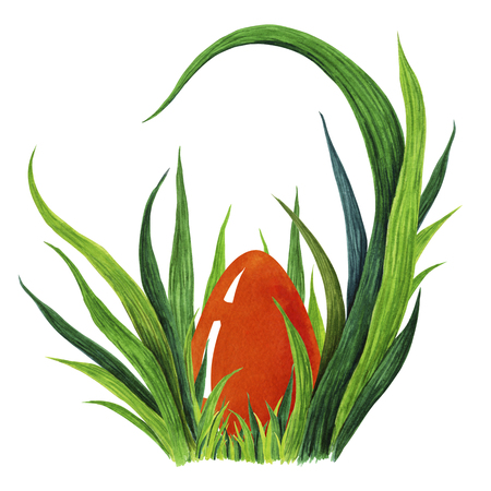 Hand painted watercolor illustration of colorful red Easter egg laying in fresh green grass tuffet. closeup