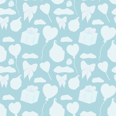 Sweet blue love elements pattern. Love and sweets template design. Watercolor pattern whit cupcake, red heart lolipop, heart shaped balloon, giftbox, red bow and clouds on pink background. Different sweets and love elements pattern. Wrapping paper design. Pattern for greetig card, wedding invitations, posters, prints. Cute love pattern