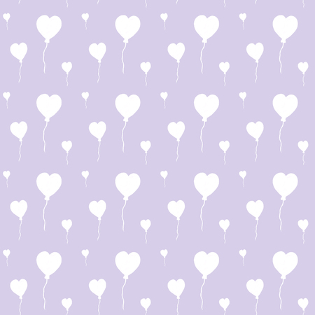 Beautiful air balloons in form of hearts, seamless watercolor pattern on lila background. Can be used for greeting card, wedding invitation. Cute hearts backdrop. Hearts love pattern
