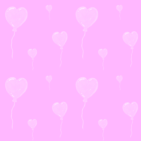 Beautiful air balloons in form of hearts, seamless watercolor pattern on pink background. Can be used for greeting card, wedding invitation. Cute hearts backdrop. Hearts love pattern