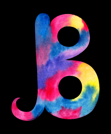 Hand painted watercolor english letter B whit gentel pink, blue, purple and yellow splashes