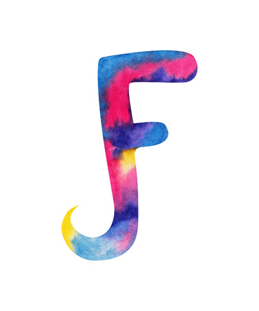 Hand painted watercolor english letter F whit gentel pink, blue, purple and yellow splashes