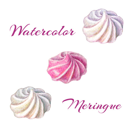Watercolor set of meringues. sweets on white background. Hand painted gentle meringues isolated on white background.