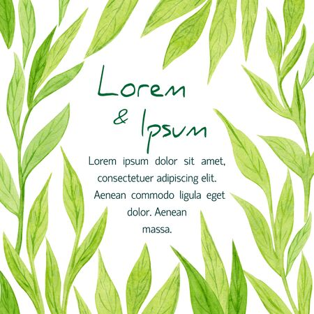 watercolor green brunch card design. Floral green leaves frame. Pastel wr
