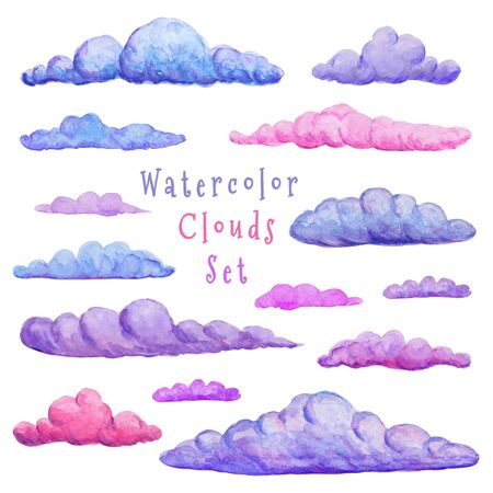 Watercolor clouds collection. Different variation of clouds. modern abstract sticker set. Hand drawn decorative clouds isolated on white. printing design in pink, blue and purple Stock Photo
