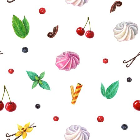 watercolor seamless sweets and berries background. Pattern of cherry, berries, mint leaves, vanilla flower, meringues, waffel and chocolate. Sweet and gentle pattern on white backdrop.