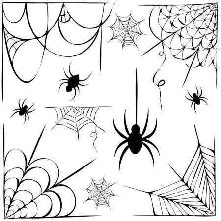 große Reihe von Spinnweben und hängenden Spinnen Silhouette isoliert auf weiss. Strichzeichnungen von Spinnennetzen und Spinnen für Halloween. dekorative gruselige Spinnenweben-Sammlung. Gruseliges Halloween Dekorationselement