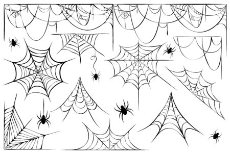 big set of cobwebs and hanging spiders silhouette isolated on white background. line art of spider webs and spiders for Halloween. decorative scary cobwebs collection. Spooky decoration element Vettoriali
