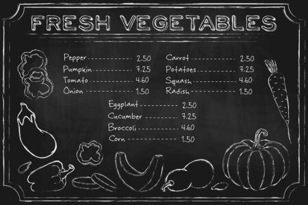 verduras de pizarra. Menú de pizarra rústica con verduras dibujadas a mano en la pizarra.