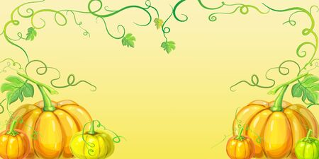 autumn orange pumpkins horizontal banner design template for farm market banners, thanksgiving day background, halloween or corn festival. Pile of orange pumpkins frame or border on orange background with vines, leaves and place for text