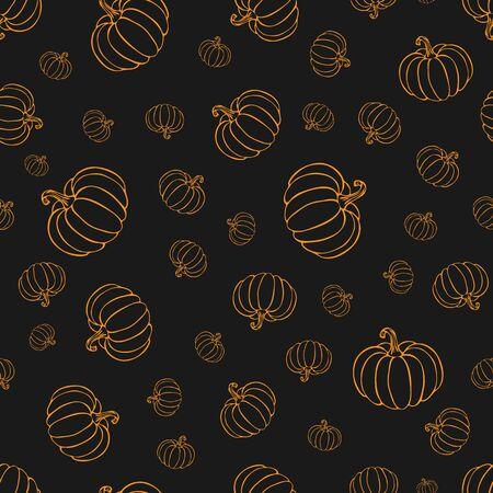 pumpkin or squash pattern in orange color on blackboard. pumpkin pattern. vintage hand drawn pumpkin sketch. outline vegetables pattern for background, halloween or thanksgiving banner or poster