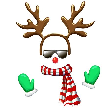 hipster reindeer face mask in sunglasses with antlers headband red nose striped scarf and mittens. Christmas costume clipart isolated on white. cool and funny xmas character vector illustration. props