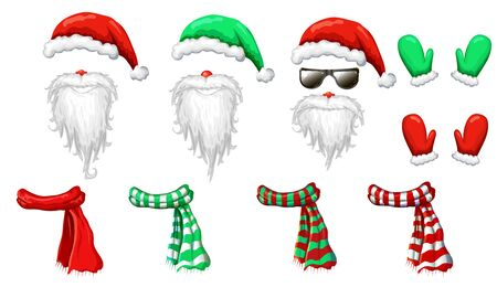 Santas hats, beards and mustaches mask collection isolated on white. xmas holiday funny costume of Santa Claus in sunglasses for decorations. Christmas photo booth and props for creative design