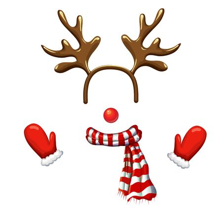 Funny christmas reindeer mask with antlers headband, red nose,striped scarf and mittens isolated on white background. reindeer face template. xmas costume. Christmas and New Year photo booth and props  イラスト・ベクター素材