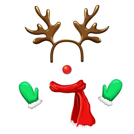 Funny christmas reindeer mask with antlers headband, red nose,striped scarf and mittens isolated on white background. reindeer face template. xmas costume. Christmas and New Year photo booth and props Illustration