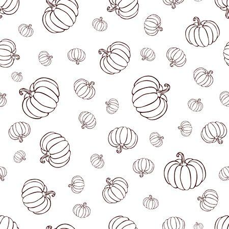 pumpkin or squash pattern black line art on white background. pumpkin pattern. vintage hand drawn pumpkin sketch. outline vegetables pattern for background, halloween or thanksgiving banner or poster.