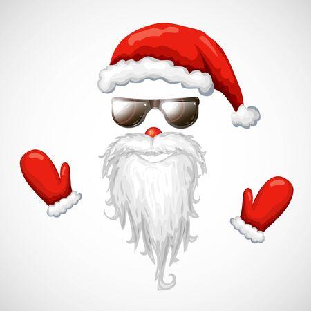 cool santa claus illustration. red santa hat, sunglasses, beard isolated on white.