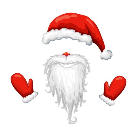 red santa hat, beard and mittens isolated on white background. Illustration