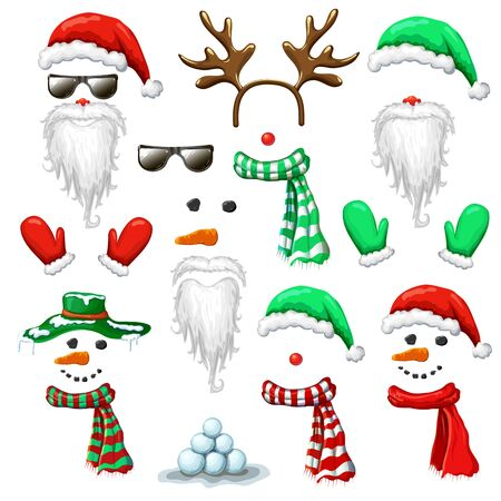 big set of Christmas and New Year photo booth, props. holiday mask clip art isolated on white. santa hat and beard snowman reindeer head costume with accessories. xmas cartoon character