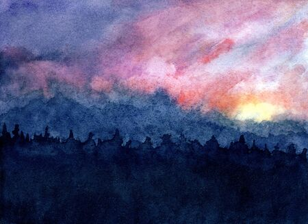 watercolor sunset sky background. watercolor abstract landscape at sunset or sunrise. painted illustration of evening or morning cloudy sky in orange and purple colors. dramatic dark sky with clouds Stock Photo