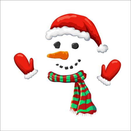 vector cute simple xmas snowman illustration. snowman face with red santa hat striped holiday scarf and mittens isolated on white. hand drawn smiling frosty character. Christmas winter symbol. props Illusztráció