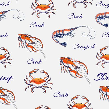seamless Seafood pattern on gentle gray backdrop. hand drawn engraved seafood background. vintage sea animals texture with shrimp, prawn, crayfish lobster crab for prints, wallpaper, decoration.