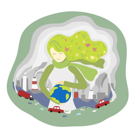 young Woman standing among polluted city and holding world in hand. save planet abstract illustration. Nature pollution and woman taking care about earth. world environment day and save earth concept. Иллюстрация