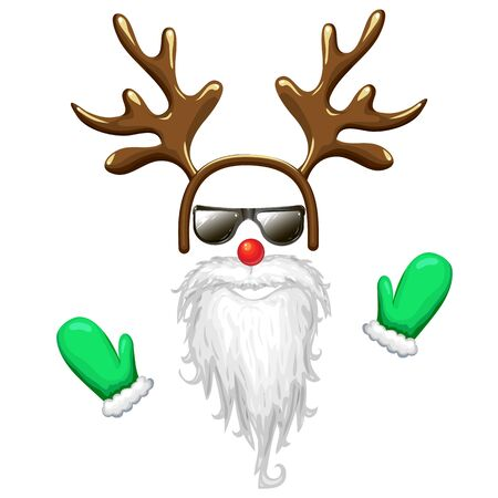 hipster santa face mask in sunglasses with antlers headband red nose long beard and mittens. Christmas costume clipart isolated on white. cool and funny xmas character illustration. photo booth.