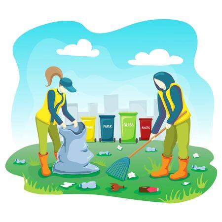 Freiwillige sammeln Müll, Plastikflaschen und reinigen Müll auf dem Rasen des Stadtparks mit Tasche und Mülleimern. Das Freiwilligenteam sammelt und sortiert im Freien Müll und kümmert sich um den Planeten. Welt retten Konzept Vektorgrafik