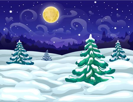 vector winter wonderland night backdrop with snowy forest, starry sky and full moon. winter landscape. christmas magic starry night scene. dark blue xmas card template. winter holiday panoramic banner. Zdjęcie Seryjne - 132612386
