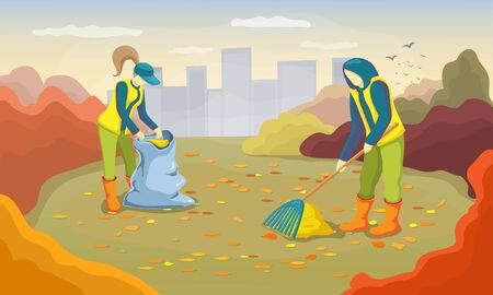 Young volunteers cleaning up autumn leaves in the city park. man and woman working and raking foliage at garden. Vector illustration of Autumn cleanup day. Seasonal cleaning service concept.