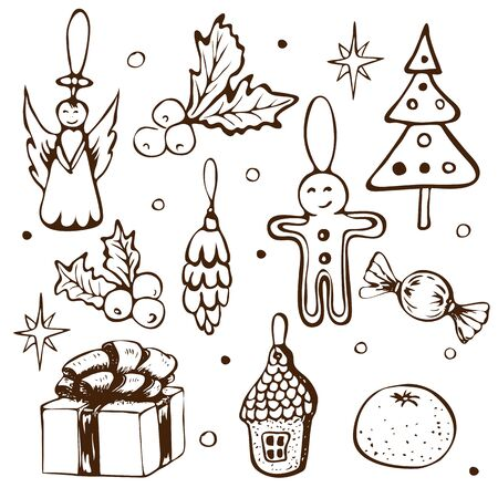 hand drawn vector christmas doodle clipart set. xmas or new year outline sketched ink icons isolated on white. Vintage illustration of winter holidays decorative elements giftbox, holly fir tree angel.