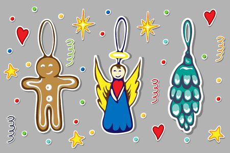 hand drawn christmas doodle sticker collection of decorative christmas toys. vector gingerbread man, cute angel and fir or pine cone illustration. New year icons isolated. Winter season elements great.