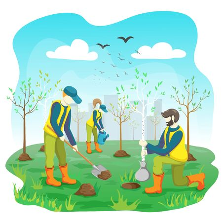 Volunteer team of young people planting trees and watering sprout, seedling in city park or garden. Volunteering gardening work. Ecological lifestyle. vector flat illustration. Arbor day concept.