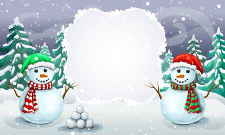 christmas snowy scene with couple of greeting snowmen in santa hats. Christmas card template or holiday winter banner with place for text. winter forest landscape with smiling snowmen and falling snow. Stock fotó
