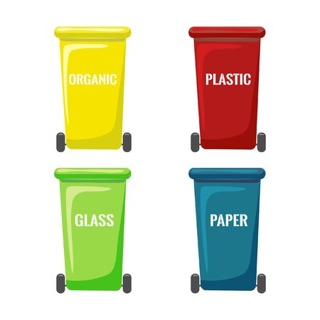 Vector flat trash bins collection isolated on white background. Wheels cans for separate garbage collection. colored containers for different types of waste. Recycling and utilization equipment icons