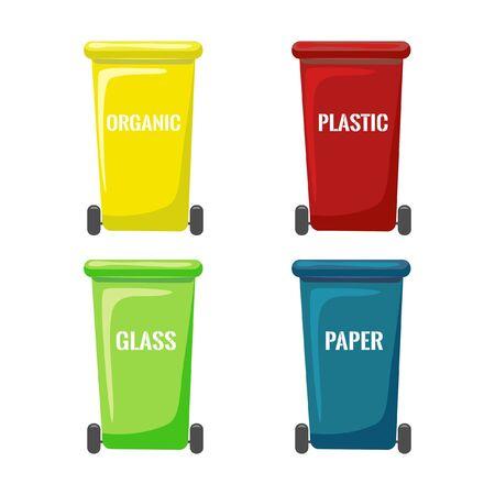 raccolta di bidoni della spazzatura piatto isolato su priorità bassa bianca. Bidoni con ruote per la raccolta differenziata. contenitori colorati per diversi tipi di rifiuti. Icone di attrezzature per il riciclaggio e l'utilizzo
